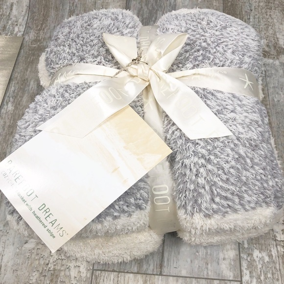 Barefoot Dreams Blanket with Heathered Stripe